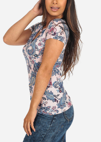 Women's Junior Ladies Casual Stretchy Short Sleeve Floral Print Pink Top