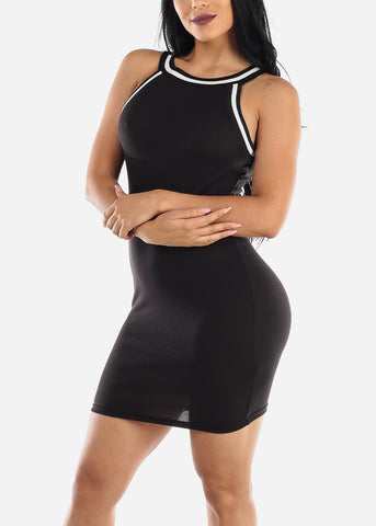 Sleeveless Black High Neck Bodycon Dress