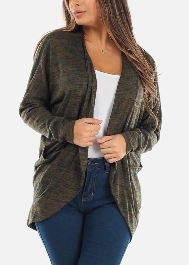 Olive Cardigan With Front Pockets