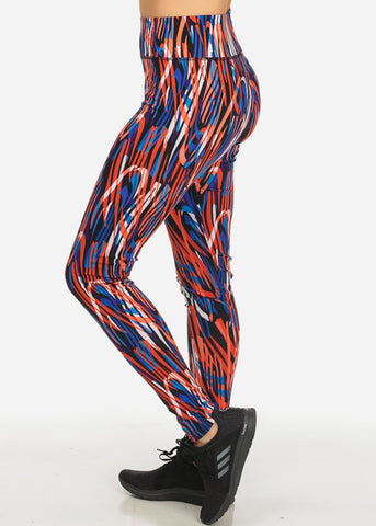 Image of Activewear Stretchy Orange Printed Leggings