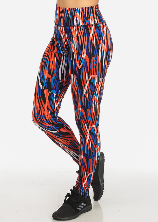 Activewear Stretchy Orange Printed Leggings