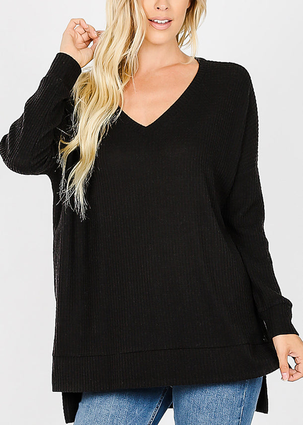 Black V-Neck Thermal Waffle Sweater