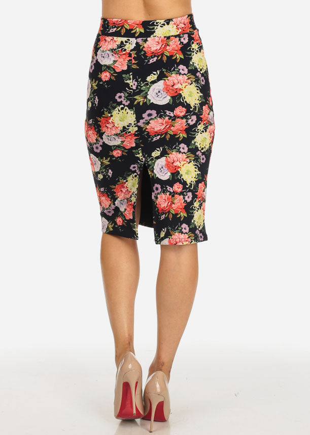 Multicolor Floral Back Slit Skirt