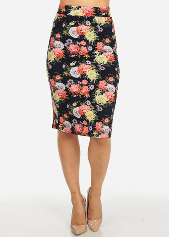 Image of Multicolor Floral Back Slit Skirt