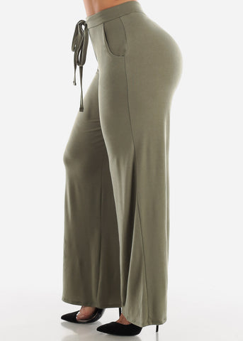 Light Olive Loose Fit Wide Legged Pants
