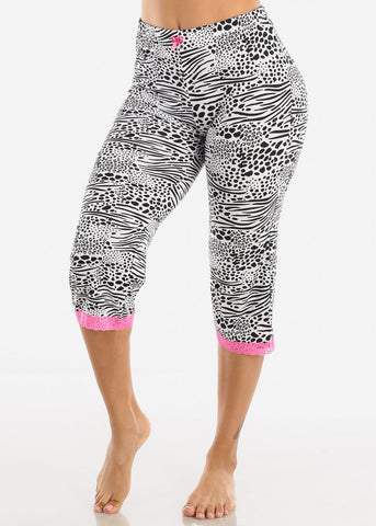 Image of Black and White Capris PJ Pants