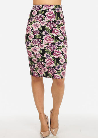 Purple Floral Back Slit Skirt