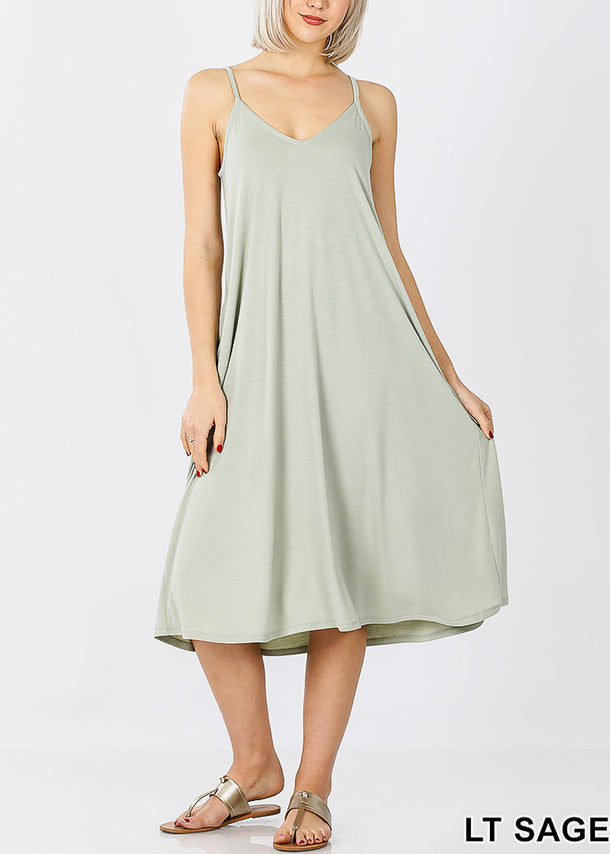 Light Sage Cami Knee Length Dress