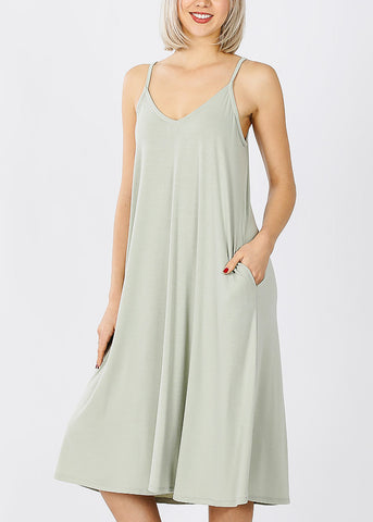 Image of Light Sage Cami Knee Length Dress