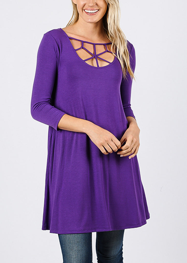 Web Neckline Purple Tunic Top
