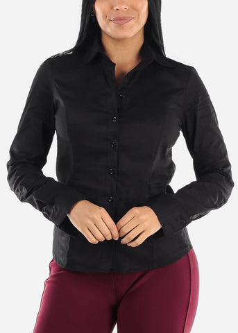 Image of Long Sleeve Button Up Black Shirt