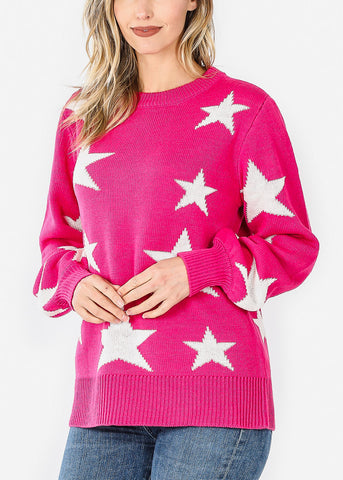 Image of Cute Print Knitted Sweater
