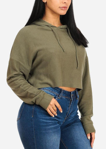Loose Fit Olive Sweatshirt Crop Top