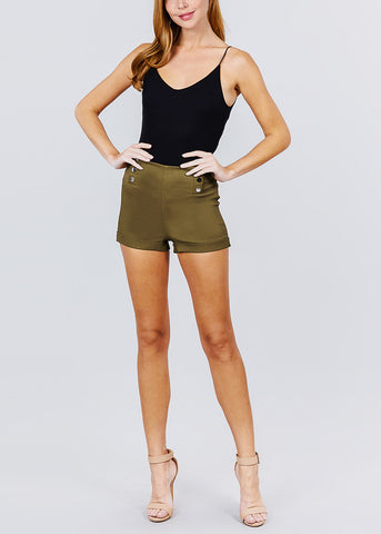 Image of Olive Button Detail Shorts
