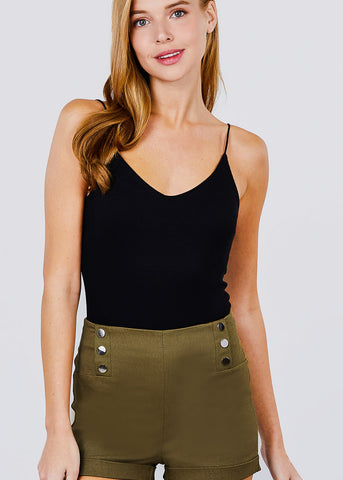 Olive Button Detail Shorts
