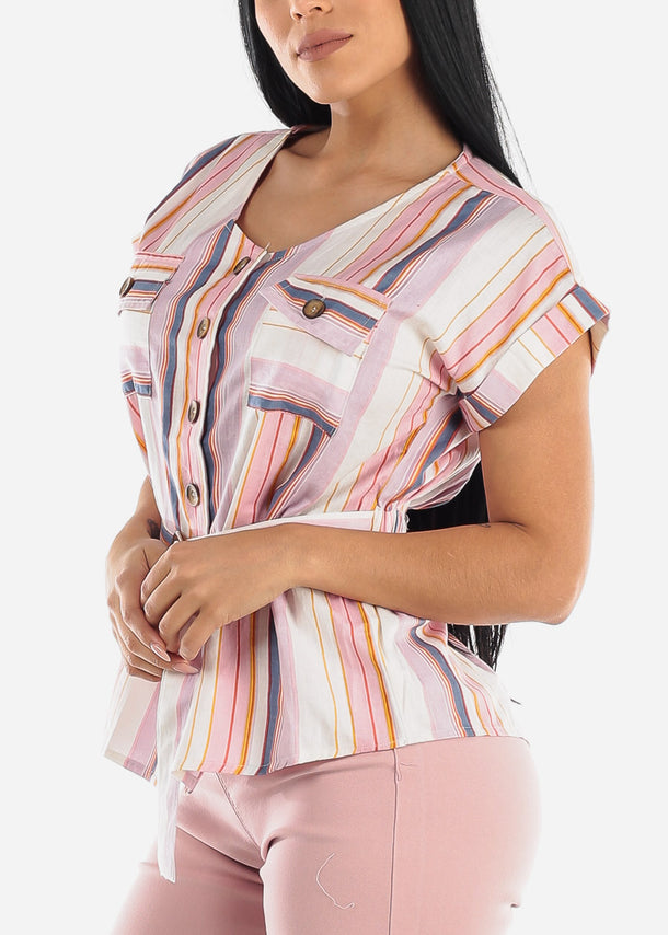 Pink Stripe Button Up Top