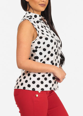 Image of Affordable White Polka Dot Blouse