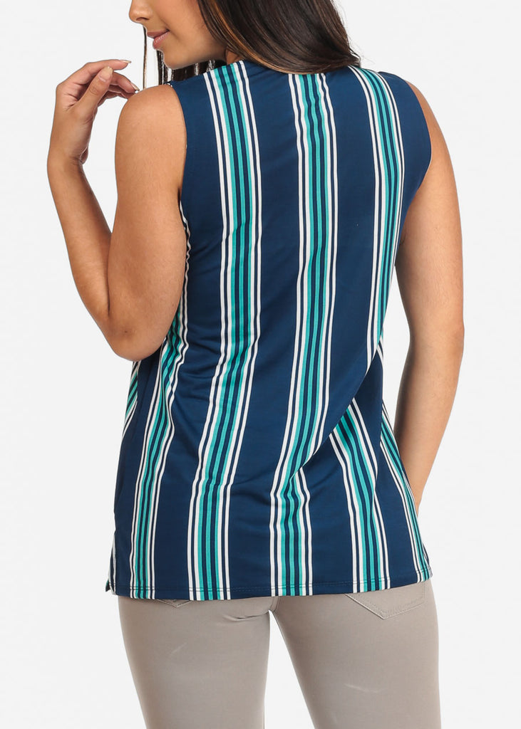 Women's Junior Ladies Sexy Dressy Casual Going Out Sleeveless Stripe Blue Blouse Top