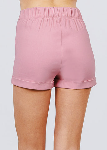 Image of Pink Button Detail Shorts