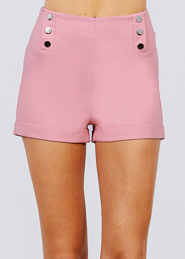 Pink Button Detail Shorts