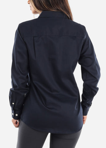 Image of Navy Teflon Button Down Shirt