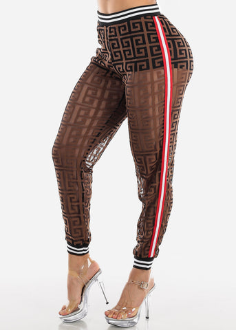 Image of Brown Maze Print Jogger Pants
