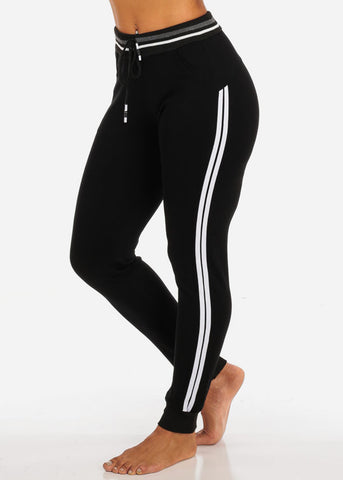 One Size Activewear High Waisted Drawstring Black Jogger Pants W Stripe Sides