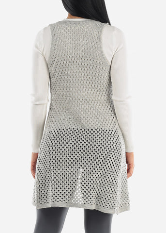 Image of See Through Sleeveless Crochet Cardigan