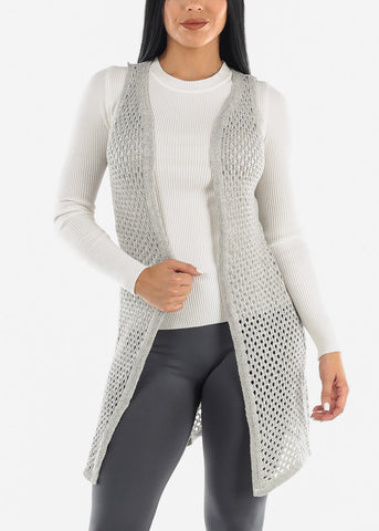 See Through Sleeveless Crochet Cardigan