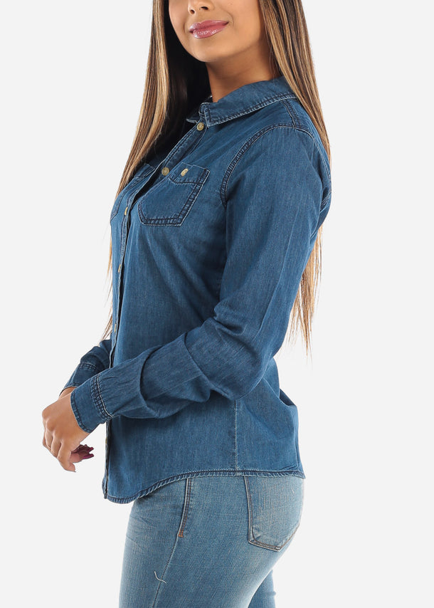 Button Up Dark Wash Denim Top