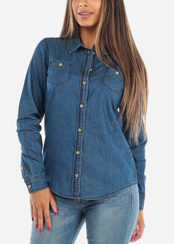 Women's Junior Ladies Trendy Casual Button Down Dark Wash Summer Denim Button Up Shirt Top On Sale