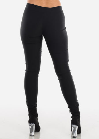 Black V-Cut Skinny Pants