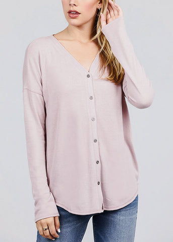 Image of Pink V-Neck Button Down Cardigan