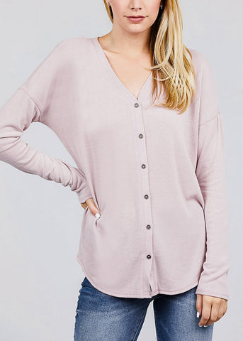 Pink V-Neck Button Down Cardigan