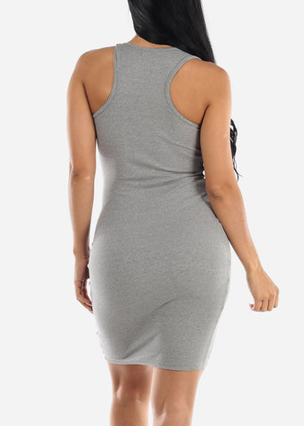 Sleeveless Grey Bodycon Midi Dress
