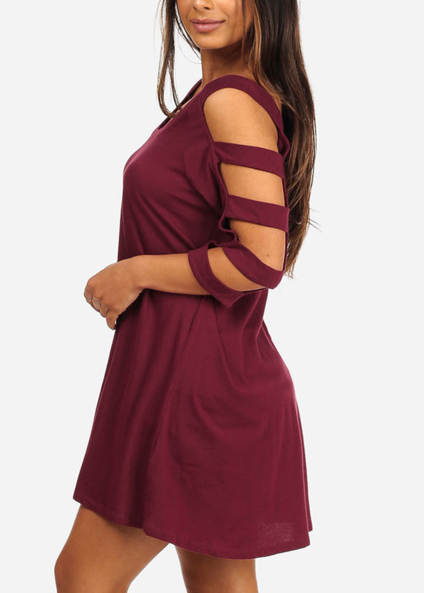 Cut Out Sleeves Burgundy Dress
