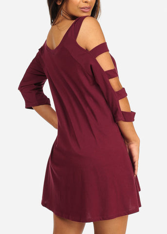 Casual Sexy Cut Out Sleeves Above Knee Burgundy Flowy Dress