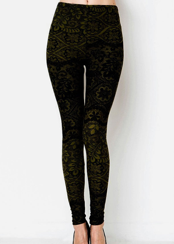 Black & Olive Printed Leggings