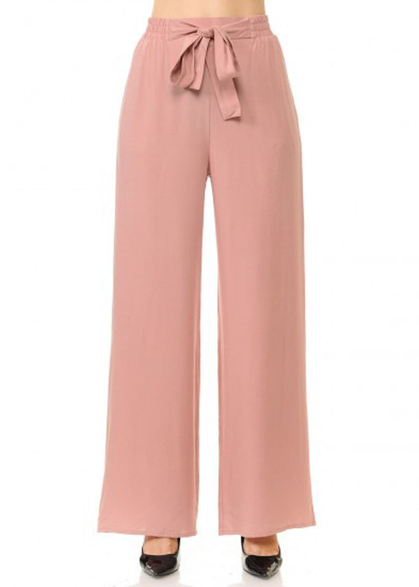 Tie Front Wide Legged Mauve Pants