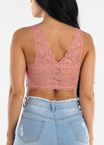 Image of Padded Bust Floral Lave Mauve Bralette