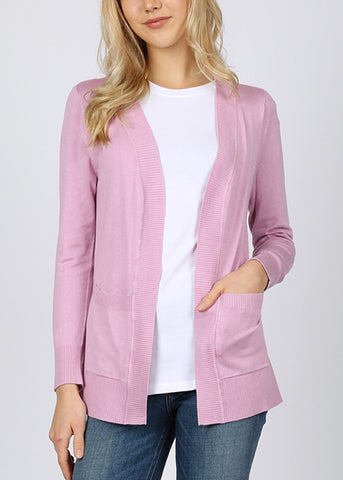 Open Front Light Mauve Cardigan sweater
