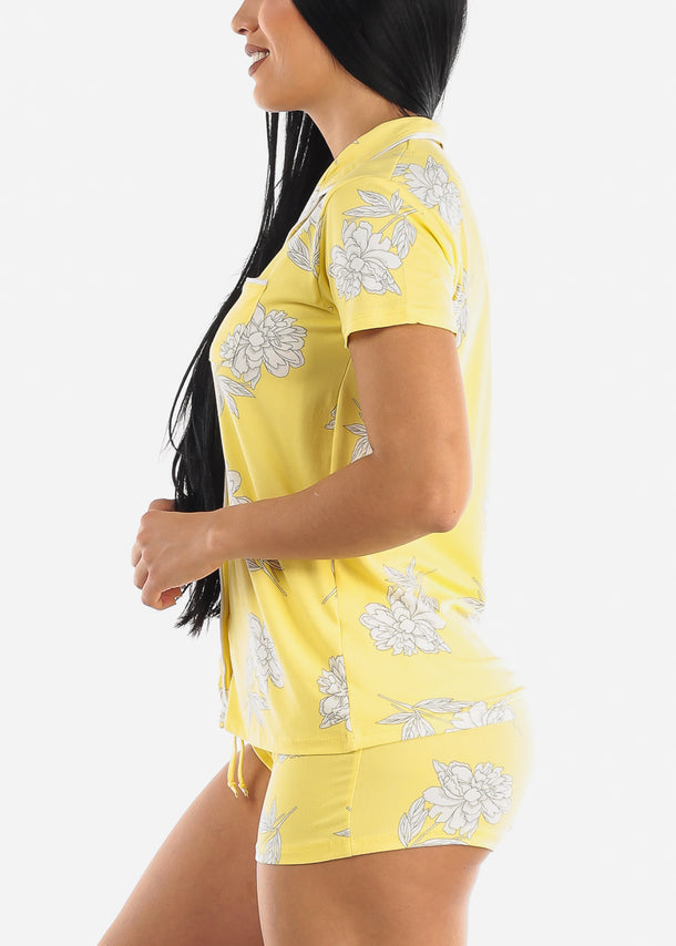 Yellow Floral Shorts PJ Set