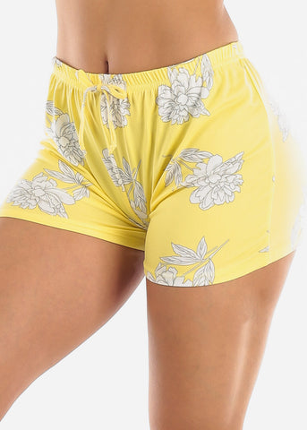 Image of Yellow Floral Shorts PJ Set