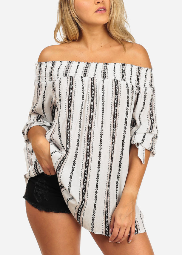 Women's Junior Casual Going Out Brunch Beach White Off Shoulder Long Sleeve Printed Top