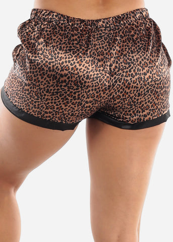 Satin Animal Print Sleep Shorts