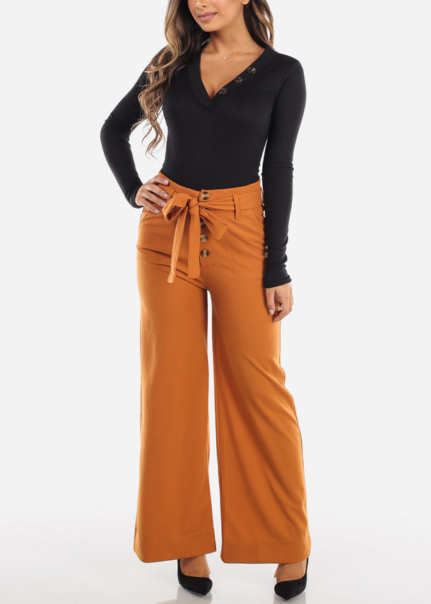 High Rise Wide Leg Palazzo Pants with Belt
