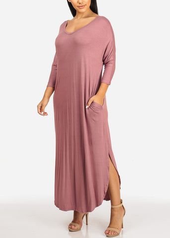 Mauve Maxi Dress W Pockets