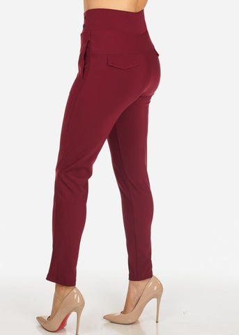 Image of Burgundy 2-Pocket Elegant Pants