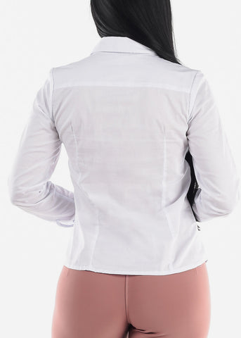 Long Sleeve Button Up White Shirt