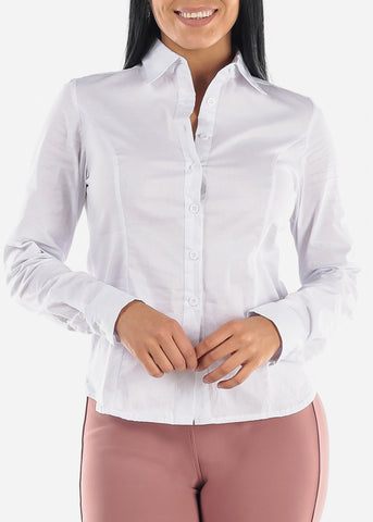 Image of Long Sleeve Button Up White Shirt